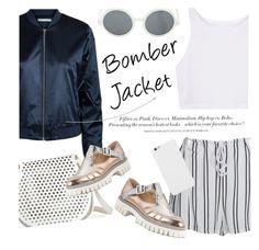 """Bomber Jackets"" by sofiasolfieri ❤ liked on Polyvore featuring Jakke, WithChic, Cynthia Rowley, Alberto Guardiani, H&M, metallic and bomberjackets"