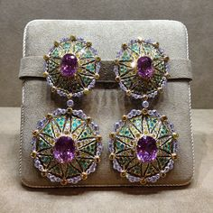 Exceptional 18K Gold Pendant Earrings with Diamonds, Tourmaline and Kunzite.