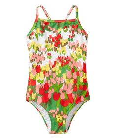 Love this Green & Yellow Floral Crossback One-Piece on #zulily! #zulilyfinds