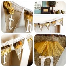 Add rosettes and spray glitter to burlap banner.