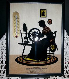 1938 ADVERTISING A FUNERAL HOME THERMOMETER PICTURE IS SILHOUETTE STYLE IN BLACK