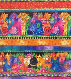 New 2015 release. Nice fabric to sew with. Laurel Burch Fabric, Cotton Crafts, Vintage Gypsy, Striped Fabrics, Surface Pattern Design, My Animal, Textures Patterns, Cat Art, Photo Art