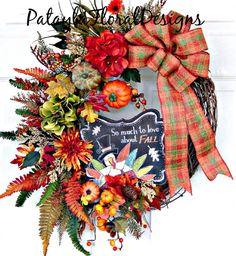 Thanksgiving Wreath, Fall Wreath, Thanksgiving Wreaths, Thanksgiving Decor…