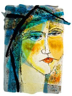 abstract faces fused glass - Google Search
