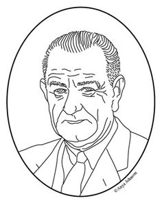 lyndon b johnson 36th president clip art coloring page or mini poster