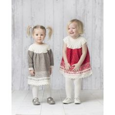 Dress with and without Sleeves pattern by Kari Haugen - Baby knit and crochet Knitting For Kids, Baby Knitting, Crochet Baby, Knit Crochet, Toddler Dress, Toddler Outfits, Kids Outfits, Knitting Patterns Free, Knit Patterns