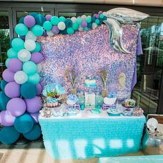 This Mermaid Birthday Party is stunning! Love the dessert table! See more party ideas and share yours at CatchMyParty.com#catchmyparty #partyideas #mermaiddesserttable #mermaidbirthdayparty #undertheseaparty #girlbirthdayparty