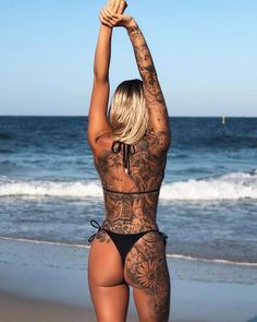 Sexy girl in black bikini showing hot lower back tattoos for women cover up on the beach Sexy Bikini, Bikini Noir, Bikini Modells, Bikini Tattoo, Black Bikini, Hot Tattoo Girls, Sexy Tattoos For Girls, Tattoed Girls, Girl Tattoos