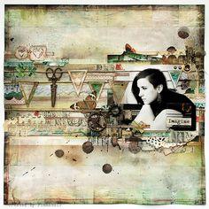 Une page de Tworzysko Finnabair. Des petites touches de couleur viennent joliment relever l'ensemble neutre, c'est fait avec tellement de grâce ! Et la rangée de banderoles avec la paire de ciseaux... top !!!