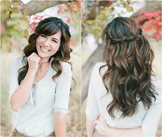 loose wavy hairstyle for bride by clip in brown color huamn hair extensions