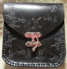 Medieval Leather Belt Pouch Black Floral, SCA, LARP