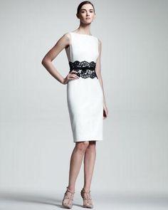 Valentino Lace-Waist Sheath Dress - Neiman Marcus