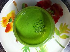 Better than coffee: 1 bosac pear, 1 cup kale, 1 cup spinach, 1/4 pineapple, 1 lime rind off, 1 inch ginger