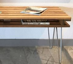 Slat Bench Coffee Table Mid Century Modern Retro Hairpin