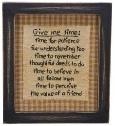 Primitive Country Give Me Time Stitchery Wall Decor