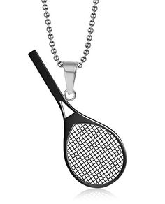 Vnox Jewelry Stainless Steel Tennis Racket Shape Pendant Necklace Perfect Gift for Him or Her,Black ** Continue to the product at the image link.