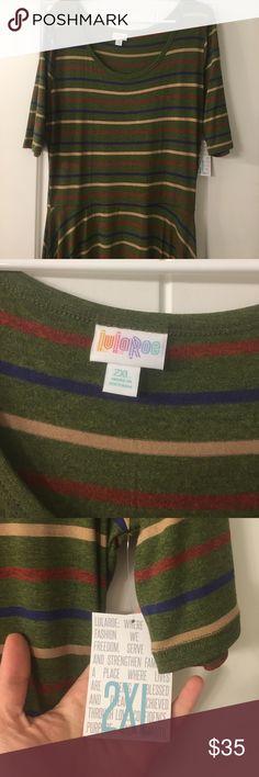 2XL Army Green Lularoe Nicole NWT 2XL Army Green Lularoe Nicole with tan, navy and red stripes. Never worn. Still has tags! LuLaRoe Dresses Midi