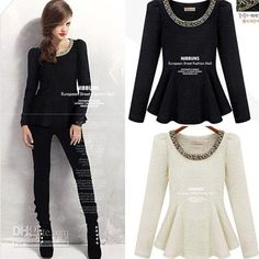 Wholesale cheap shirt cheap online, brand - Find best women blouses crew neck beaded puff sleeve peplum tops shirts 2320 at discount prices from Chinese blouses & shirts supplier - fashionrush on DHgate.com.