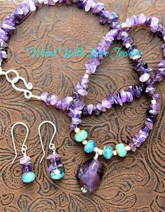 Amethyst Gemstone Nugget.. Amethyst chips.. Blue green glass beads, necklace, earrings