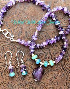 Amethyst Gemstone Nugget.. Amethyst chips.. Blue green glass beads, necklace, earrings