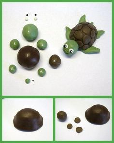 DIY Cute Polymer Clay Turtle DIY Projects .anything with clay can be done with fondant!!!