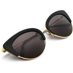 JOSEPHINE Black 24K (380 CAD) ❤ liked on Polyvore featuring jewelry, sunglasses, accessories, óculos, carved jewelry, cats eye jewelry, 24-karat gold jewelry, hand crafted jewelry and 24 karat gold jewelry
