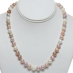 9-10mm Freshwater Pearl Necklace With 8MM .925 Sterling Silver Toggle Clasp