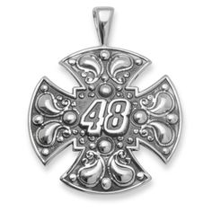 Fan Gear # 48 Jimmie Johnson STERLING SILVER BALI MALTESE CROSS NAS02348