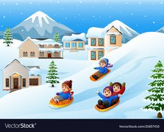Vector illustration of Cartoon boy riding sled on the downhill pulled by two dogs , Cute Turtle Cartoon, Cartoon Boy, Ski Drawing, Drawing For Kids, Snow Vector, Learn To Sketch, Background Clipart, Merry Christmas And Happy New Year, Winter Activities