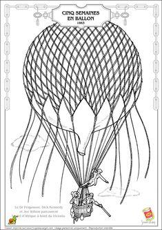 Coloriage jules verne 5 semaines en ballon sur Hugolescargot.com - Hugolescargot.com
