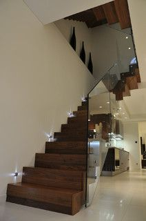 Queens Gardens - Staircase with glass balustrade - modern - staircase - london - by Elite Metalcraft Co. Ltd