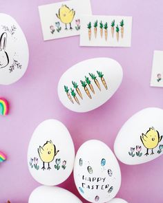 DIY Illustrated Temporary Tattoo Easter Eggs