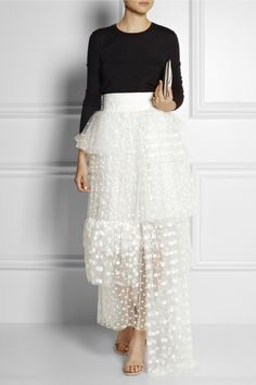 White sheer tulle Woven waistband, spot embroidery, tiered overlays, maxi skirt Chloe