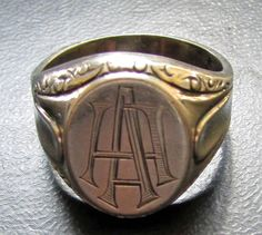 Art Deco Silver Signet Ring Men Initials Monogram Engraved AA 835 Size 12.75