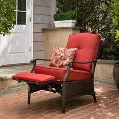 Better Homes & Gardens Providence Outdoor Recliner, Red Outdoor Lounge, Outdoor Chairs, Outdoor Living, Outdoor Spaces, Outdoor Garden Furniture, Home Furniture, Furniture Design, Porch Chairs, Red Cushions