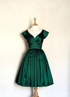 Knielange Kleider - Smaragd Taft Abendkleid mit Cap Sleeves - ein Designerstück von digforvictory bei DaWanda