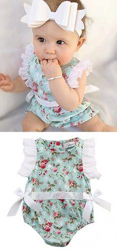 Kids Baby Girl Clothes Lace Floral Cotton Romper Bodysuit Jumpsuit Outfits (0-6 Months, Blue Floral)
