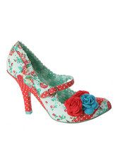 "Hit the heights in flamboyant fashion with this pair of vintage mary jane pumps. A delicate scalloped border adds extra feminine fancy to the floral design while an adjustable buckle helps craft a flawless fit. 3.5"" heelFabric upperBuckle closureMan-made sole"