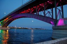 Peace Bridge to Canada at night.