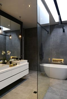 The Block Glasshouse Bathroom Decor Dark Bathrooms, Beautiful Bathrooms, Small Bathroom, Master Bathroom, Contemporary Bathrooms, Luxurious Bathrooms, Bathroom Grey, The Block Bathroom, Bathroom Tiling
