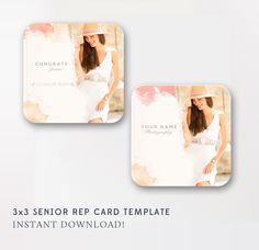 3x3 Senior Rep Card Template - WHCC Senior Referral Card - Senior Photographer Templates - Senior Marketing - INSTANT DOWNLOAD