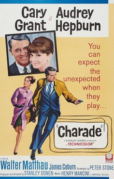 """Charade"" (1963). COUNTRY: United States. DIRECTOR: Stanley Donen. SCREENWRITER: Peter Stone. COMPOSER: Henry Mancini. CAST: Cary Grant, Audrey Hepburn, Walter Matthau, James Coburn, George Kennedy, Ned Glass, Jacques Marin, Paul Bonifas, Thomas Chelimsky"