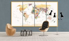 Large Panel Canvas Political World Map Classic by CanvasFactoryCo Canvas Frame, Canvas Wall Art, Wall Art Prints, Canvas Prints, Framed Maps, Framed Wall Art, Large World Map Canvas, Push Pin World Map, Wooden Bar