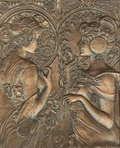 """10x8"""" bas relief Mucha ladies tile with bronzed finish. Hand made in my studio,not a cheap chinese knockoff.      Artist: Michelle Robison  Price - $100.00  Dimensions - Not Specified"""