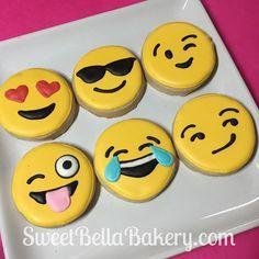 Emoji cookies! Order here: http://www.sweetbellabakery.com/order.html #emoji #cookies