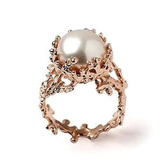 18k Rose Gold Plated Sterling Silver, Large 12mm White Freshwater Cultured Pearl, Coral Reef Organic Statement Ring, Size 4 to 13
