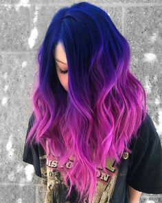 Great Combination of Blue To Pink Hair Color Highlights for 2018 Cute Hair Colors, Pretty Hair Color, Beautiful Hair Color, Hair Color Purple, Hair Dye Colors, Galaxy Hair Color, Blue And Pink Hair, Vivid Hair Color, Vibrant Hair Colors