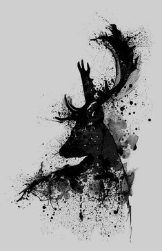 Black And White Painting – Black And White Deer Head Watercolor Silhouette by Ma… Schwarzweiss-Malerei – Schwarzweiss-Rotwild-Kopf-Aquarell-Silhouette durch Marian Voicu Poster Black And White, Black And White Art Drawing, Black And White Coffee, Black And White Sketches, Black And White Wallpaper, Black White, Black Deer, Black And White Prints, Black And White Picture Wall