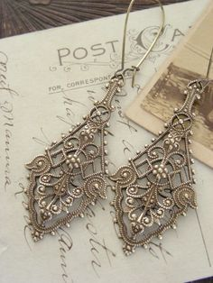 Earrings Victorian Vintage Filigree Brass  by chloesvintagejewelry, $24.80