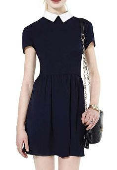 Black Contrast Lapel Pleated Dress